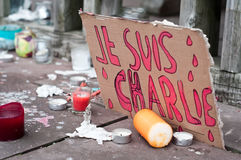 March against Charlie Hebdo magazine terrorism attack, on January 7th, 2015 in Paris Royalty Free Stock Photos