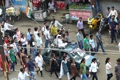 March against corruption in India. A march by a group of people to support Anna Hazare for his anti corruption campaign at Jabalpur, a town in India. A kid royalty free stock images