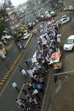 March against corruption in India. A march by a group of people at Jabalpur, a small town in India , to support Anna Hazare for his nation wide anti corruption stock photo