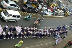 March against corruption in India. A march by students and teachers holding banners at Jabalpur, a small town in India , to support Anna Hazare for his nation stock photo