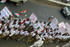 March against corruption in India. A march by students and teachers holding banners at Jabalpur, a small town in India , to support Anna Hazare for his nation stock photography