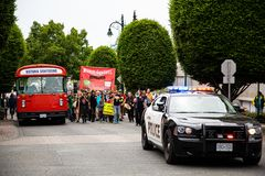 March Against Monsanto with Bus royalty free stock photography