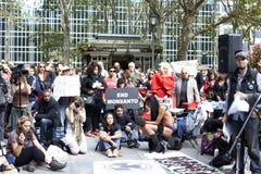 March Against Monsanto. New York City, NY, USA - October 12, 2013: Spectators at the March Against Monsanto Demonstration Royalty Free Stock Image