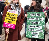 March Against Racism National Demonstration - London - United Kingdom. London, UK. 17th March 2018. EDITORIAL - Protesters holding a placards at the March royalty free stock photo
