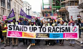 March Against Racism National Demonstration - London - United Kingdom. London, UK. 17th March 2018. EDITORIAL - Thousands gathered at Portland Place, London stock photo