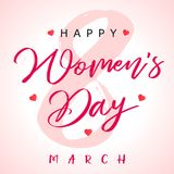 8 March сalligraphy Happy Womens Day banner. Women`s Day greeting card template with typography text happy womens day and pink hearts on background. Vector Stock Photo