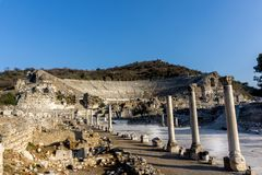 March 2016: ancient Roman ruins of the theater in Ephesus, Turkey. With no people during the day Stock Photography
