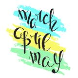 March, April, May - handwritten names of the months of spring. vector illustration