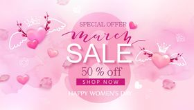 8 march sale banner with heart and sakura. 8 march background design with flower and pearl. Modern holiday background stock illustration