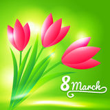 8 March background with tulips. 8 March bright green background with tulips vector illustration