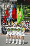March band. Hold flag in taiwan at the national day, Oct. 10,2008 Stock Photo