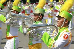 March band. Play horn in taiwan at the national day, Oct. 10,2008 Royalty Free Stock Photo