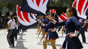 March band girls with flags Royalty Free Stock Photos