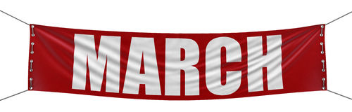 March Banner (clipping path included). Big March Banner. Image with clipping path Stock Image