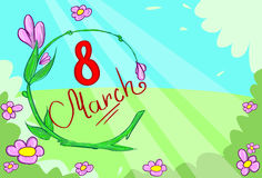 March Banner Green Floewr Leaves Vector Stock Images