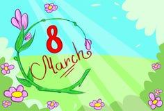 March Banner Green Floewr Leaves Vector. Illustration Stock Images