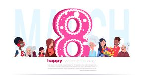 8 March Banner Happy International Women Day Poster With Mix Race Female On Template White Background. Flat Vector Illustration Stock Images