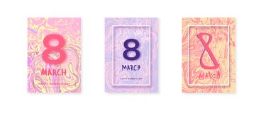 8 March banner. Happy women`s day. Vector Illustration. Set of 8 March vertical banners. Happy women`s day covers. Templates for banner, poster, flyer, brochure stock illustration