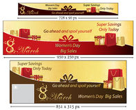 8 March banner set for Women's Day. 8 March banner set for International Women's Day. Big Sales / Special Offers. Sizes: leader board. Contains place for your Vector Illustration