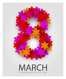 8 March. Beautiful flower number. Red Floral Greeting card. International Happy Womens Day. Vector illustration Vector Illustration