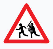 25 March Belarus 2017. Sign carefully, there is an attack. Icon warning. Sticker symbol a man runs away from a policeman Royalty Free Stock Photo