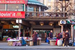 People at the belgrade market who choose the goods Royalty Free Stock Image