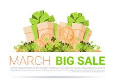 March Big Sale Template Poster Background Happy St. Patricks Day Holiday Discount. Flat Vector Illustration Royalty Free Stock Photos