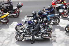 March 2, 2016: Bikers driving through the city for the Motorcycling Season Opening ceremony in Varna, Bulgaria Stock Images