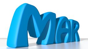 March blue. MAR in blue letters, stays for March in the calendar Stock Image