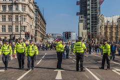 The March for brexit supporters on 29 March 2019 royalty free stock photo