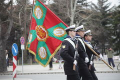 March 3, 2016: Bulgarian Army Sailors with Battle Flag marching on the Bulgaria Liberation Day's parade in Varna, Bulgaria Stock Images
