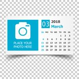 March 2018 calendar. Calendar planner design template with place. For photo. Week starts on sunday. Business vector illustration Stock Photos