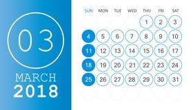 March 2018 calendar. Calendar planner design template. Week star. Ts on Sunday. Business vector illustration Stock Photo