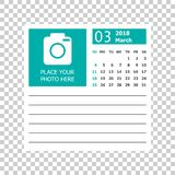 March 2018 calendar. Calendar planner design template. Week star stock illustration