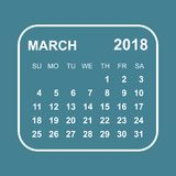 March 2018 calendar. Calendar planner design template. Week star Royalty Free Stock Photo