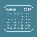 March 2018 calendar. Calendar planner design template. Week star. Ts on Sunday. Business vector illustration Royalty Free Stock Photo