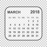 March 2018 calendar. Calendar planner design template. Week star. Ts on Sunday. Business vector illustration Royalty Free Stock Images