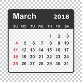 March 2018 calendar. Calendar planner design template. Week star Stock Photo