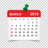 March 2018 calendar. Calendar sticker design template. Week star vector illustration