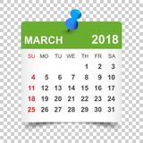 March 2018 calendar. Calendar sticker design template. Week star royalty free illustration