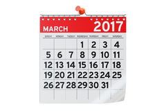 March 2017 calendar, 3D rendering Royalty Free Stock Photo