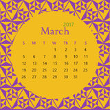2017 March calendar design with geometric background | colorful modern business Stock Image