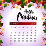 2019 March calendar design template of Christmas or New Year decoration vector illustration