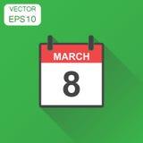March 8 calendar icon. Business concept calendar pictogram. Vect Royalty Free Stock Photography