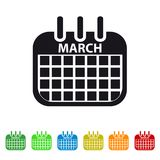 March Calendar Icon - Colorful Vector symbol. Isolated On White Background royalty free illustration