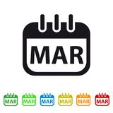 March Calendar Icon - Colorful Vector symbol. Isolated On White Background stock illustration