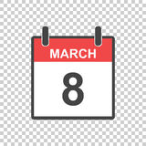 March 8 calendar icon. International womens day. Vector illustra. Tion in flat style stock illustration