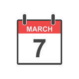 March 7 calendar icon. Vector illustration in flat style stock illustration