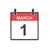 March 1 calendar icon. Stock Photos