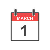 March 1 calendar icon. Vector illustration in flat style. Stock Photography